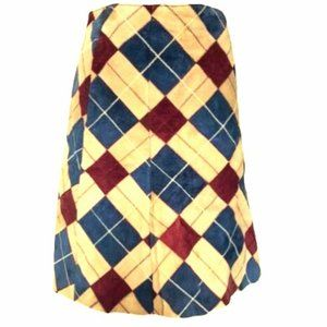 Vintage suede plaid or checks skirt